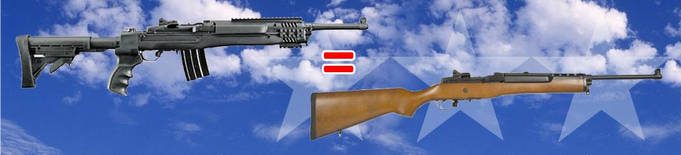 A comparison of a Ruger 10-22 with a wooden hunting stock and a Ruger 10-22 with a composite tactical stock.