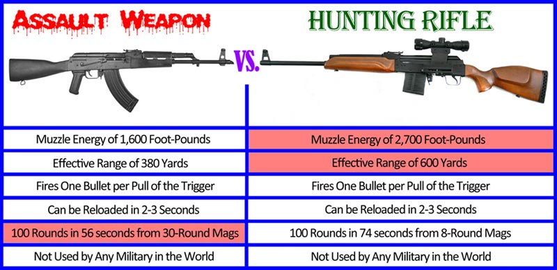 "Comparison between a semiautomatic ""assault weapon"" and a semiautomatic hunting rifle."
